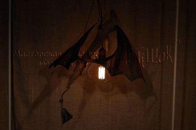 фэнтезийный дизайнерский светильник-дракон из меди своими руками