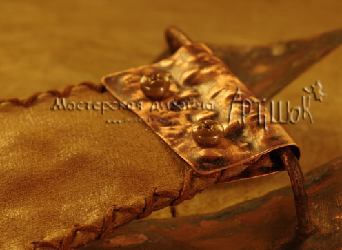модульный ремень из обрезков кожи с медной пряжкой-лисой ручной работы