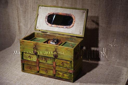 сундук - музыкальная шкатулка из транспортировочного ящика своими руками